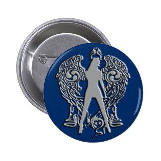 A prata grava o botão do anjo da serpente bóton redondo 5.08cm
