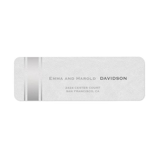 A prata listra o monograma do costume do couro etiqueta endereço de retorno