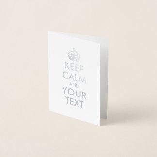A prata mantem a calma e o seu texto cartão metalizado