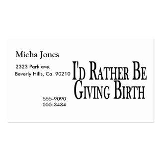 A preferencialmente dá o nascimento cartao de visita