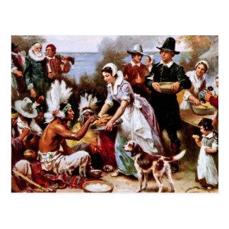 A primeira acção de graças, 1621. Cartão