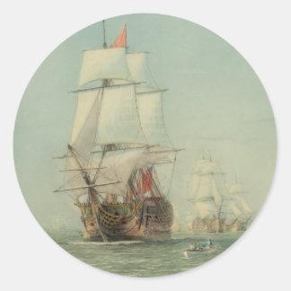 A primeira viagem do H.M.S. Vitória em 1778 Adesivo Em Formato Redondo