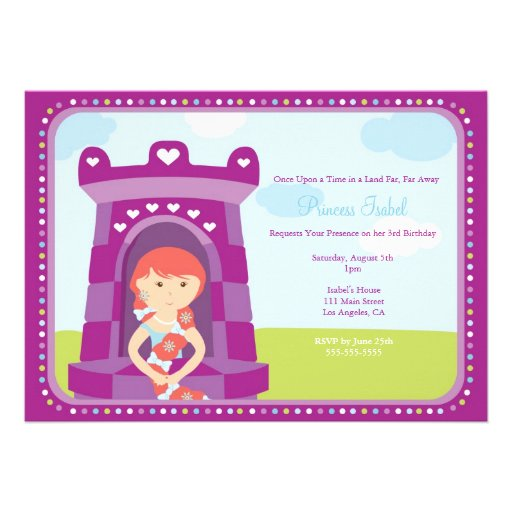 A princesa bonito festa de aniversário de Rapunzel Convites