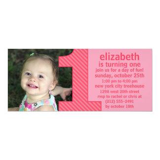A princesa Cor-de-rosa um é peça do aniversário da Convite 10.16 X 23.49cm