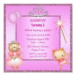 A princesa Gatinho & urso, tiara & brilho convida Convite Personalizados
