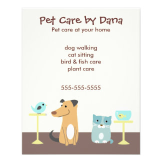 A propaganda do baby-sitter do animal de estimação modelo de panfletos