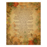 A prosa dos Desiderata na queda colore o fundo Poster
