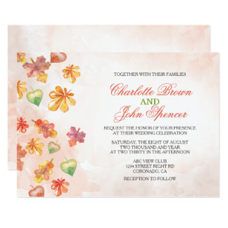 A queda da aguarela deixa convites do casamento convite 12.7 x 17.78cm