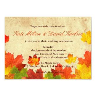 A queda das folhas de bordo do vintage colore o convite 11.30 x 15.87cm
