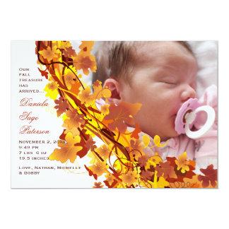 A queda deixa o anúncio do nascimento da foto da convite 12.7 x 17.78cm