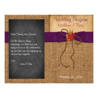 A queda deixa o programa do casamento do quadro de flyer 21.59 x 27.94cm