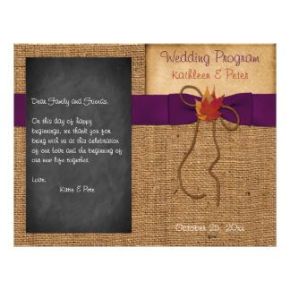 A queda deixa o programa do casamento do quadro de modelo de panfletos
