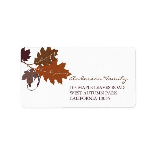 A queda do outono deixa etiquetas de endereço da etiqueta de endereço