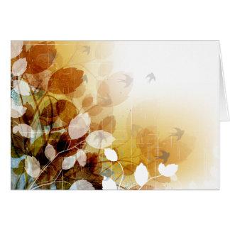 A queda sae e pássaros em cartões de nota do vazio