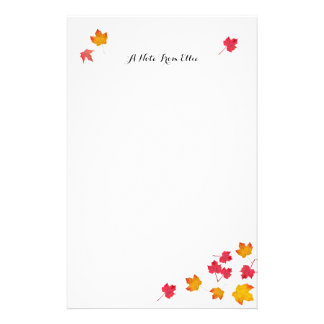 A queda vermelha deixa o papel de nota pessoal papelaria