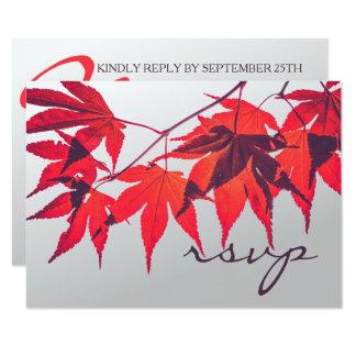 A queda vermelha vibrante deixa o cartão de RSVP Convite 8.89 X 12.7cm