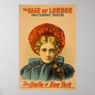 A raiva do poster das artes de palco do vintage de pôster
