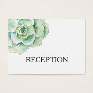 a recepção de casamento do succulent da aguarela cartão de visitas
