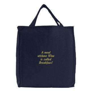 A refeição sem vinho é saco bordado divertimento d bolsas bordadas