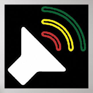 A reggae escuta impressão moldado