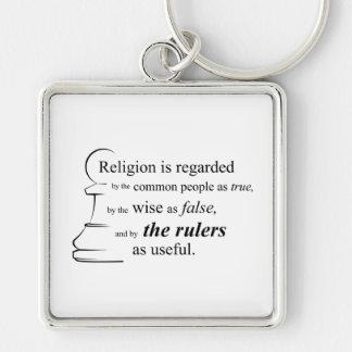A religião é útil chaveiro quadrado na cor prata
