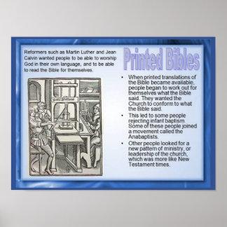 A religião, história, reforma imprimiu bíblias poster