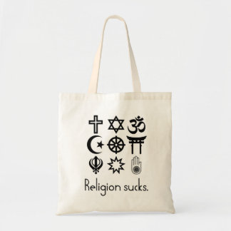 A religião suga a sacola bolsa tote