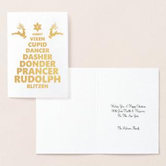 A rena do papai noel nomeia a tipografia da árvore cartão metalizado