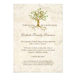 A reunião de família Antiqued raizes da árvore do  Convites Personalizado