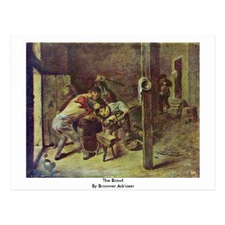 A rixa por Brouwer Adriaen Cartao Postal