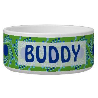 A roda azul pontilha (escolha a cor do fundo) tijela para comida de cachorros