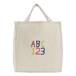A sacola das crianças de ABC 123 Bolsas Bordadas