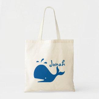 A sacola de livro ensaca a baleia personalizada sacola tote budget