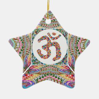 A sala da IOGA e a mantra de OM em n traseiro Ornamento De Cerâmica