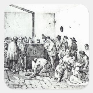A sala de aquecimento pública em Paris, 1840 Adesivo Quadrado