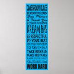 """A sala de aula ordena o poster (azul), 12"""" x 36"""""""