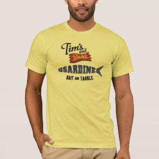 A sardinha de Tim e de filho, a isca e a loja do Camiseta