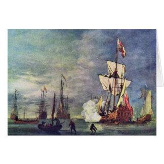 A saudação por Willem Van De Velde o mais novo Cartão