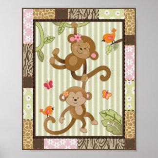 A selva Jill Monkeys a arte do berçário do bebé Pôster