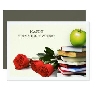 A semana dos professores felizes. Cartões lisos Convite 12.7 X 17.78cm