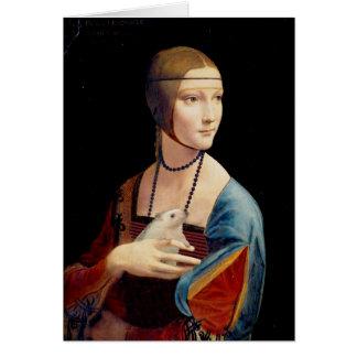 A senhora Com de Leonardo da Vinci um cartão do