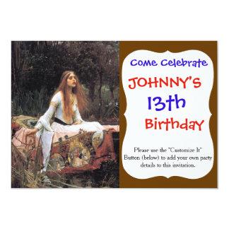 A senhora da pintura do shalott convite 12.7 x 17.78cm