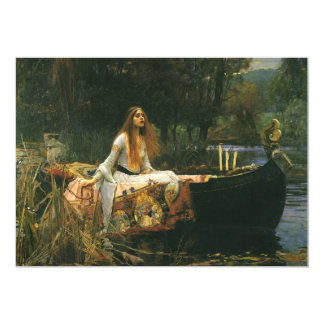 A senhora de Shalott (no barco) pelo Waterhouse de Convites Personalizados