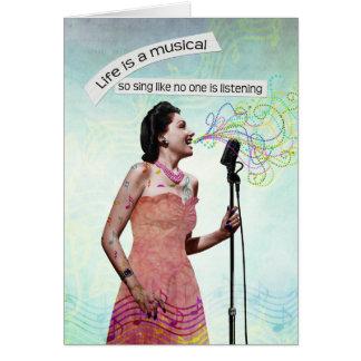 A senhora retro Vida Ser Um Musical canta Notecard Cartão De Nota