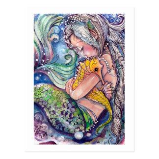 A sereia abraça o cartão