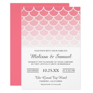 A sereia escala o convite cor-de-rosa do casamento