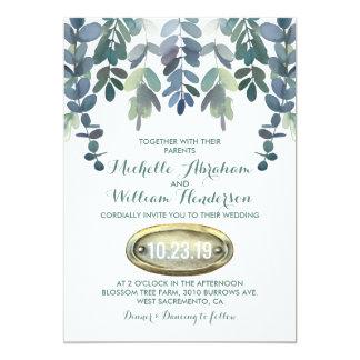 A série rústica do casamento do eucalipto convida convite 12.7 x 17.78cm