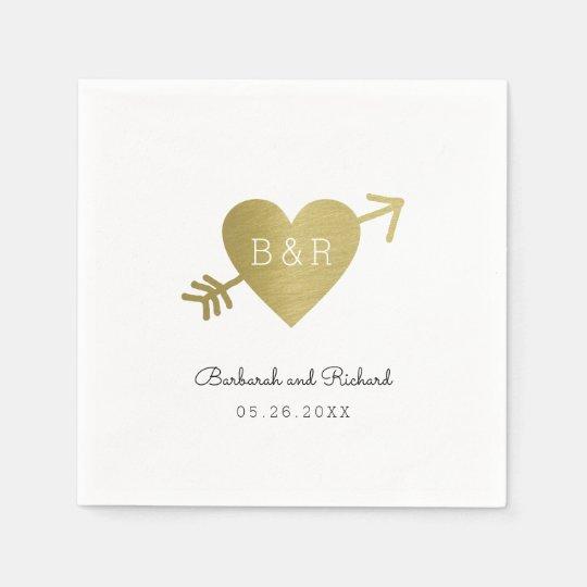 a seta e os nomes do coração do amor, wed guardanapo de papel