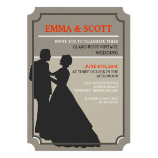 A silhueta do casal da dança do casamento vintage convites personalizados