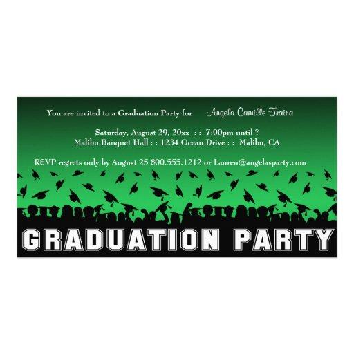 A silhueta verde da festa de formatura do inclinaç cartao com fotos